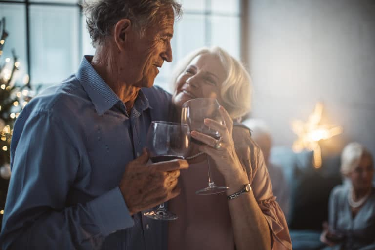 Happy older couple with hearing loss